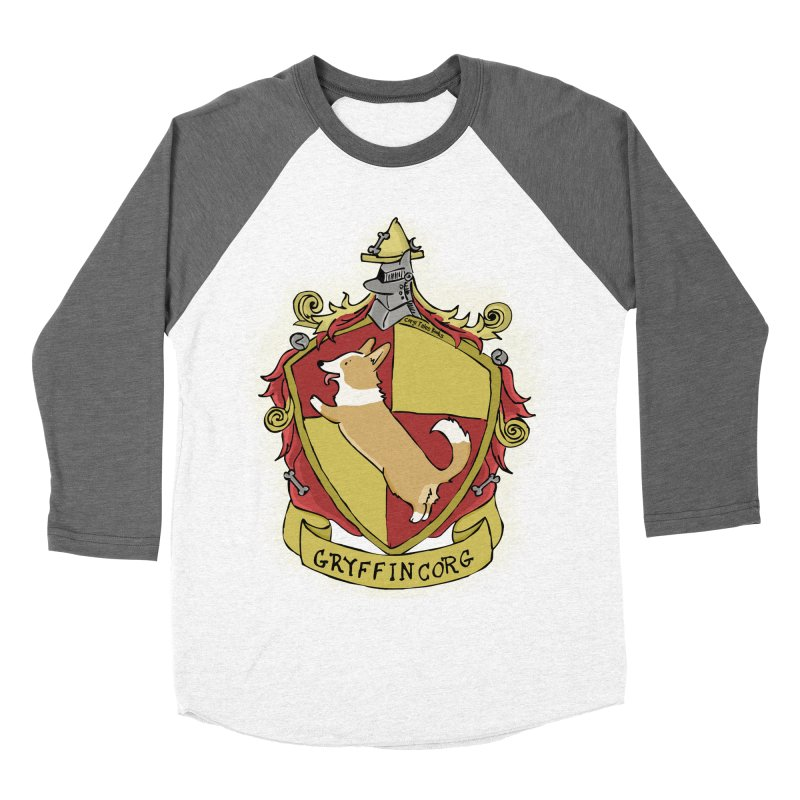 PotterCorgs - GryffinCorg Men's Baseball Triblend Longsleeve T-Shirt by Corgi Tales Books