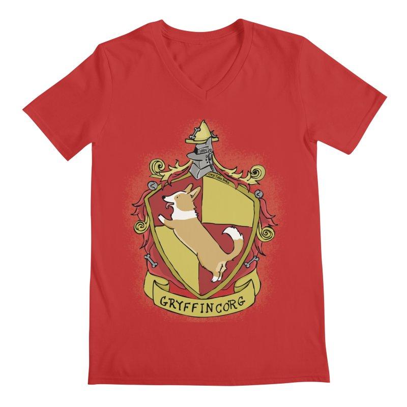 PotterCorgs - GryffinCorg Men's V-Neck by Corgi Tales Books