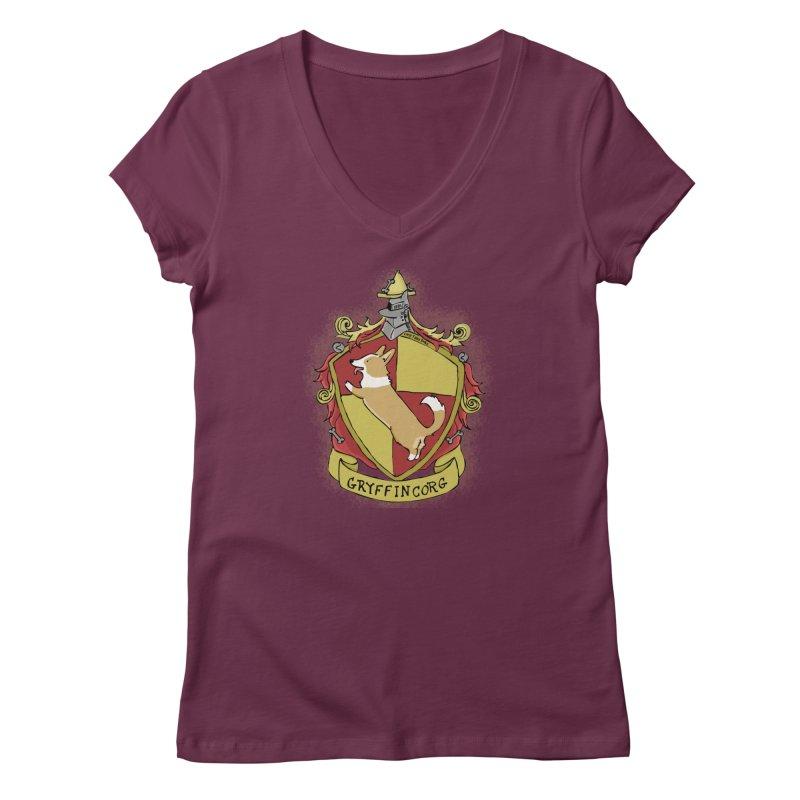 PotterCorgs - GryffinCorg Women's V-Neck by Corgi Tales Books