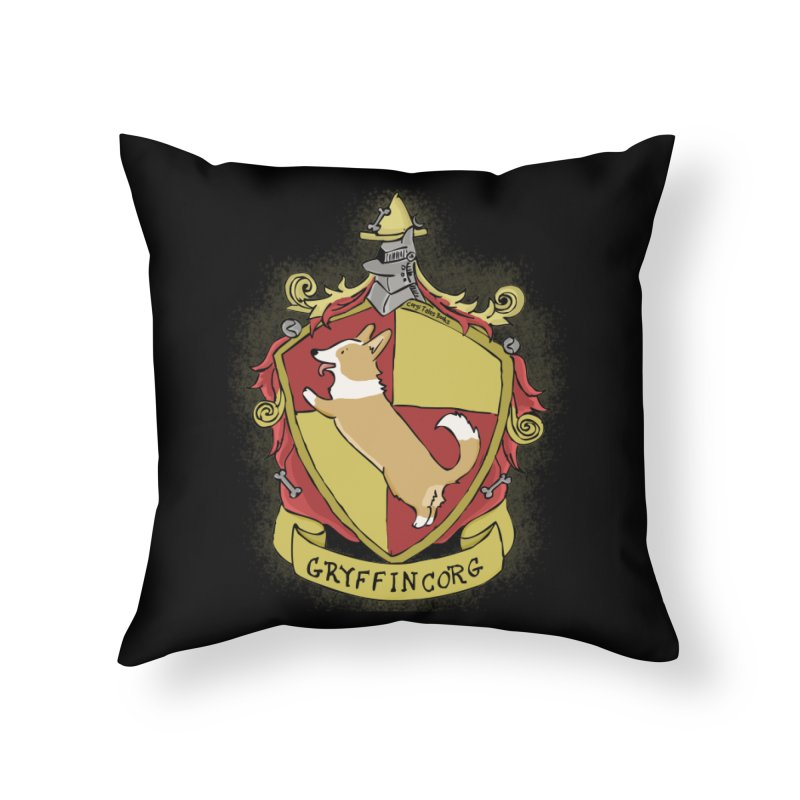 PotterCorgs - GryffinCorg Home Throw Pillow by Corgi Tales Books