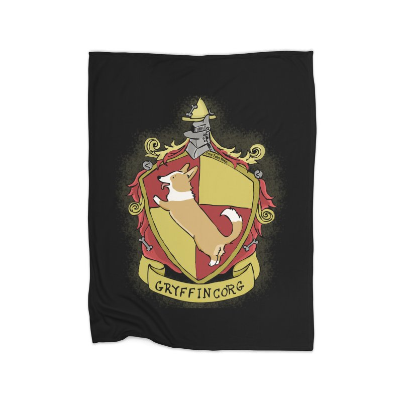 PotterCorgs - GryffinCorg Home Fleece Blanket Blanket by Corgi Tales Books