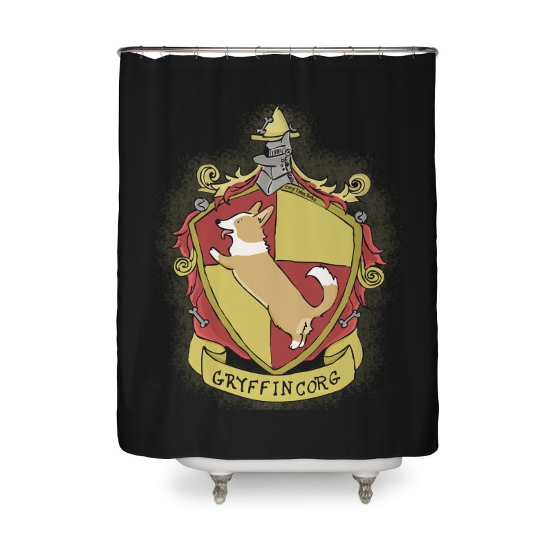 PotterCorgs - GryffinCorg Home Shower Curtain by Corgi Tales Books