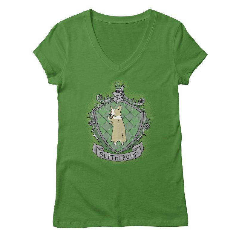 PotterCorgs - Slytherump Women's V-Neck by Corgi Tales Books