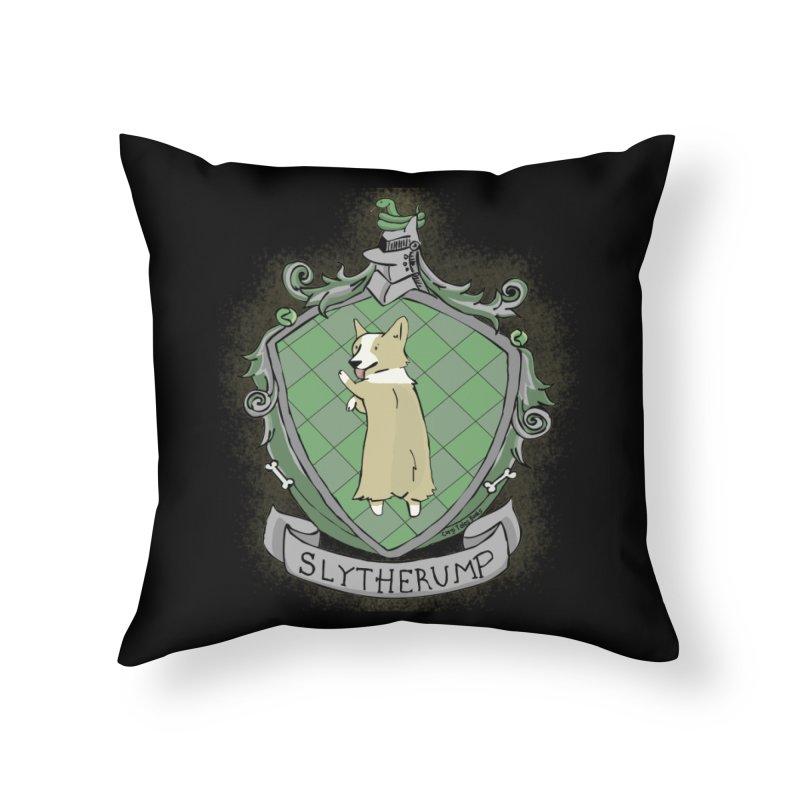 PotterCorgs - Slytherump Home Throw Pillow by Corgi Tales Books