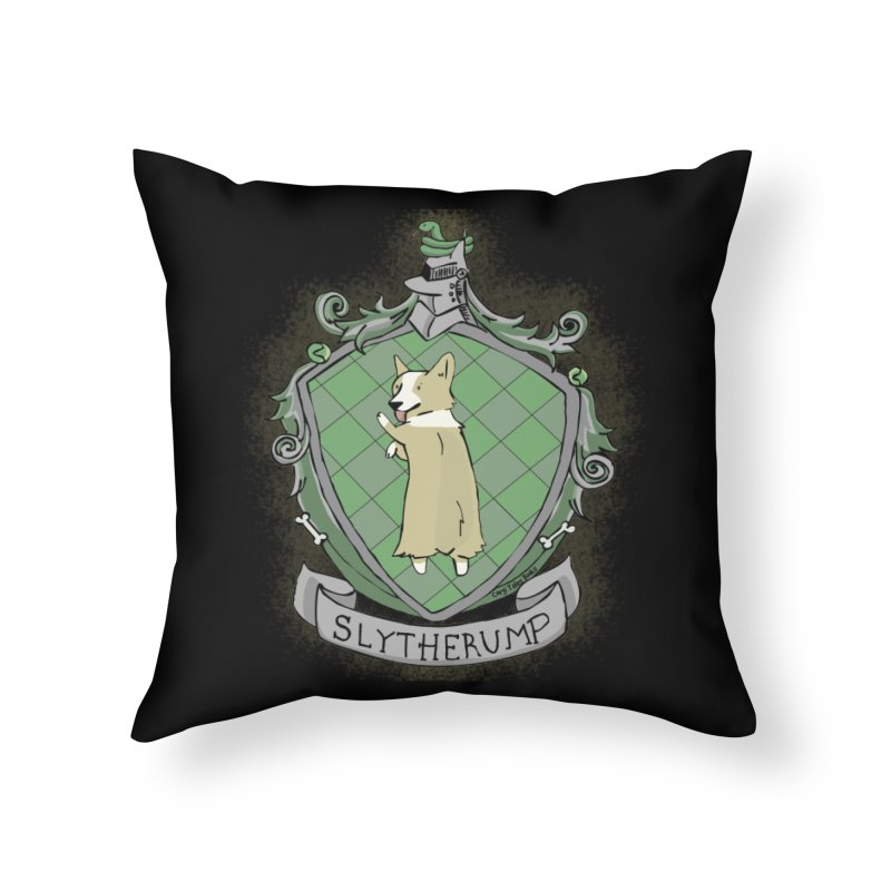 PotterCorgs - Slytherump Home Throw Pillow by Corgi Tales Books