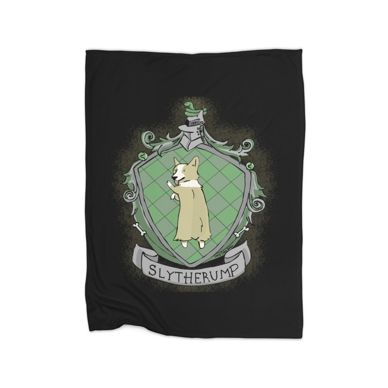 PotterCorgs - Slytherump Home Fleece Blanket Blanket by Corgi Tales Books