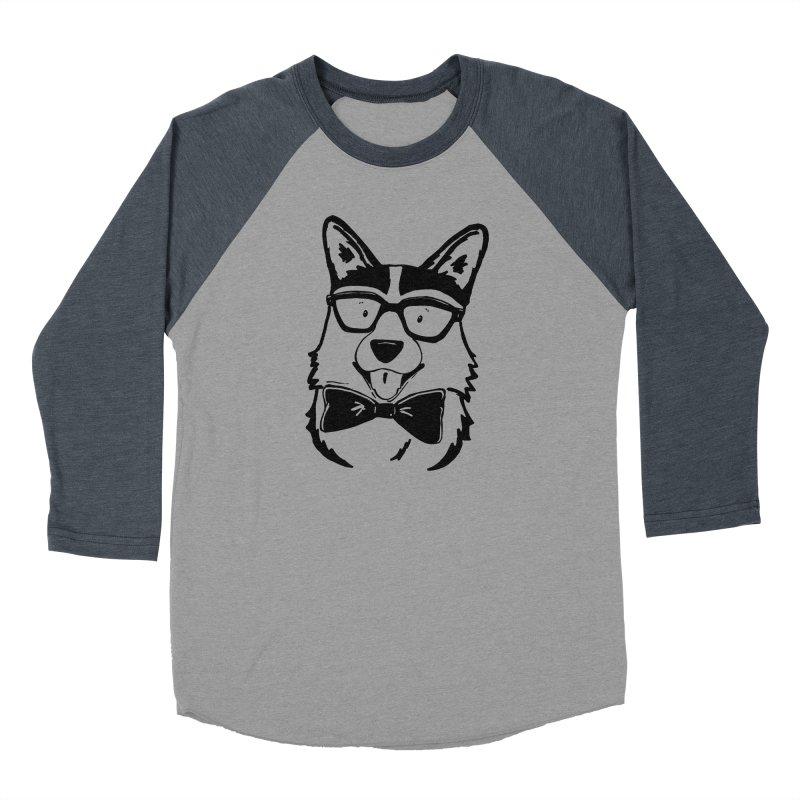 Bowtie Corgi Men's Baseball Triblend Longsleeve T-Shirt by Corgi Tales Books