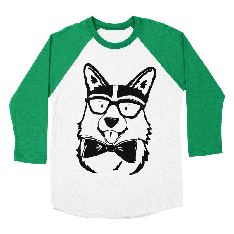 Bowtie Corgi Men's Baseball Triblend Longsleeve T-Shirt by Corgi Tales Books