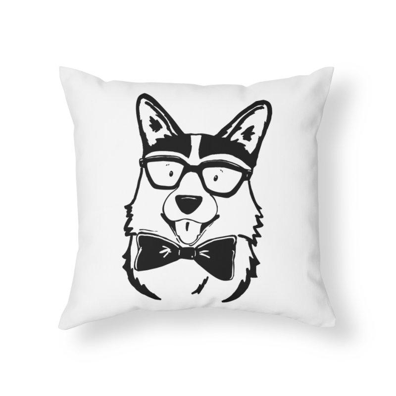 Bowtie Corgi Home Throw Pillow by Corgi Tales Books
