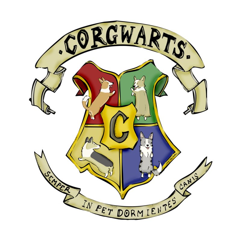 Corgwarts Crest Men's T-Shirt by Corgi Tales Books