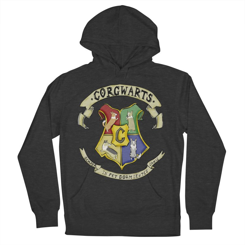 Corgwarts Crest Men's French Terry Pullover Hoody by Corgi Tales Books