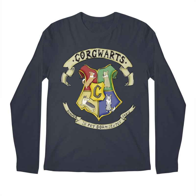 Corgwarts Crest Men's Regular Longsleeve T-Shirt by Corgi Tales Books