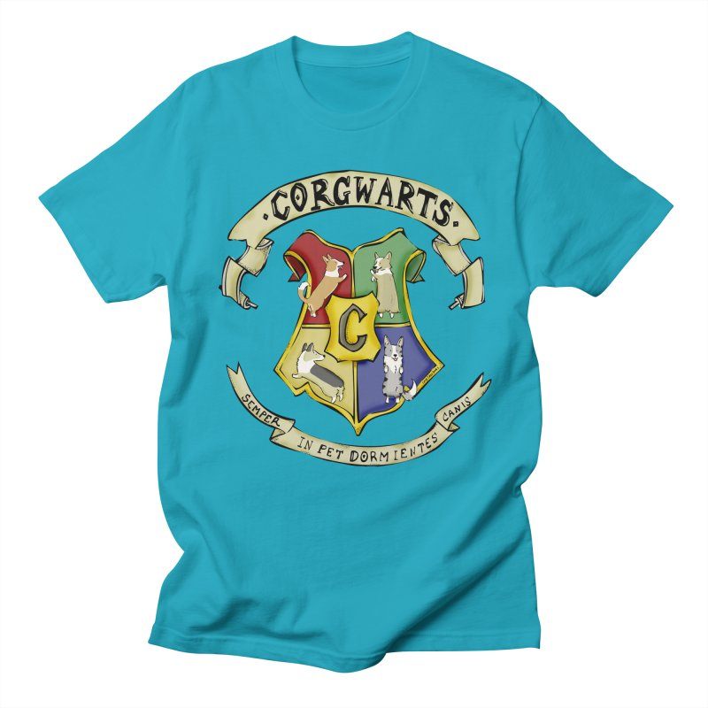Corgwarts Crest Men's Regular T-Shirt by Corgi Tales Books