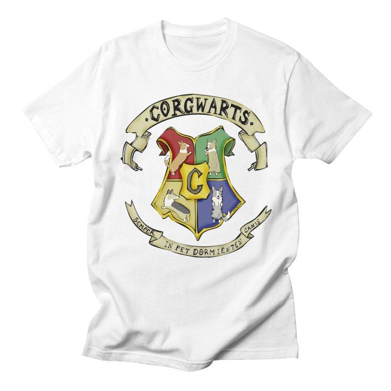 Corgwarts Crest Men's Regular T-Shirt by Corgi Tales Books