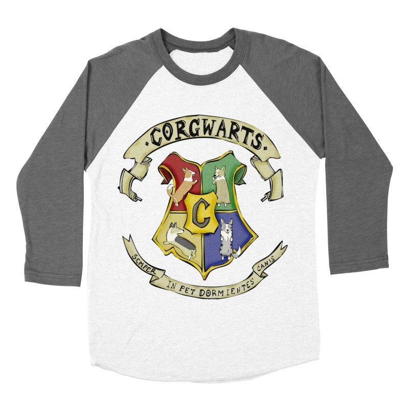 Corgwarts Crest Women's Baseball Triblend Longsleeve T-Shirt by Corgi Tales Books