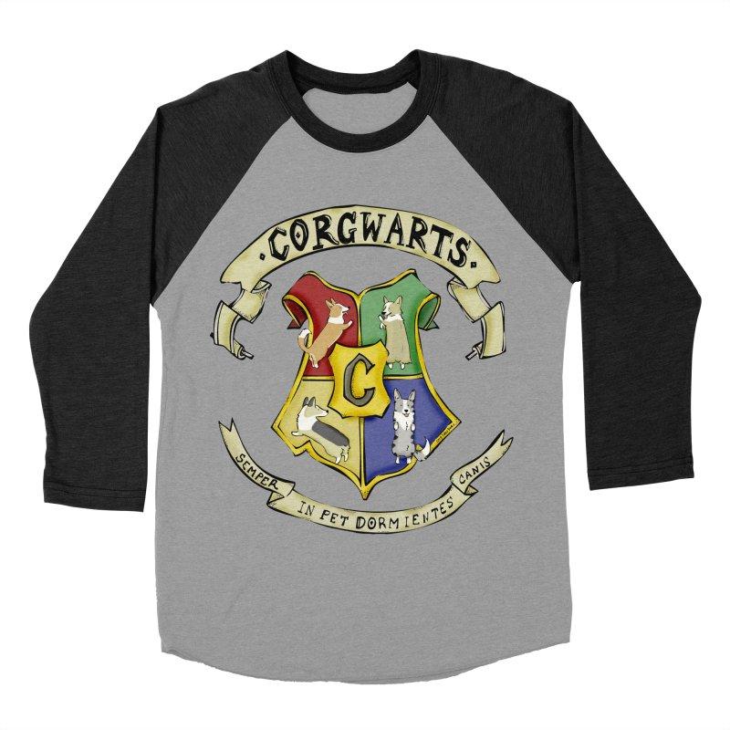 Corgwarts Crest Women's Baseball Triblend T-Shirt by Corgi Tales Books