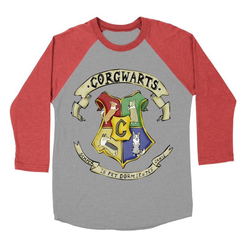 Corgwarts Crest Men's Baseball Triblend T-Shirt by Corgi Tales Books