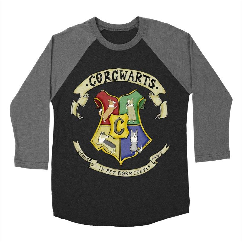 Corgwarts Crest Men's Baseball Triblend Longsleeve T-Shirt by Corgi Tales Books