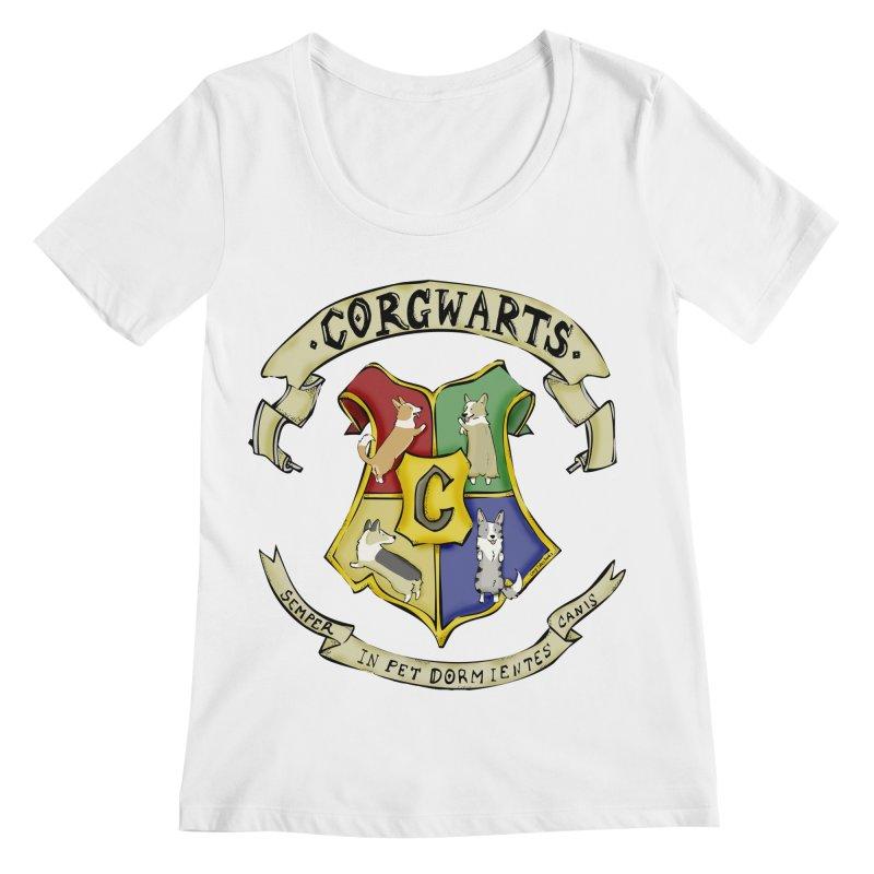 Corgwarts Crest Women's Scoopneck by Corgi Tales Books