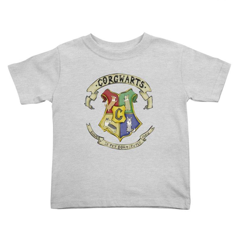 Corgwarts Crest Kids Toddler T-Shirt by Corgi Tales Books