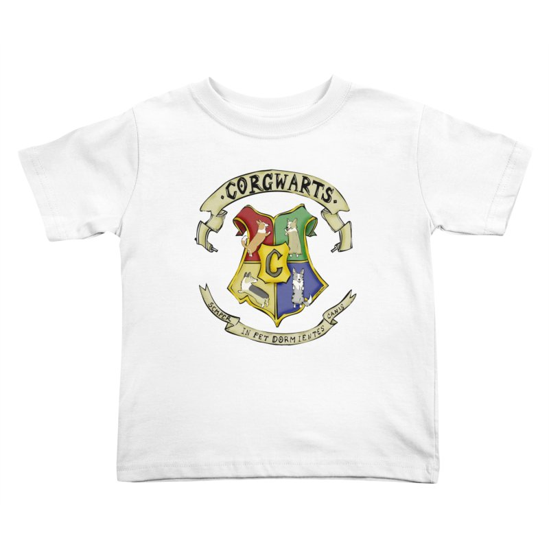 Corgwarts Crest Kids Toddler T-Shirt by Corgi Tales Books