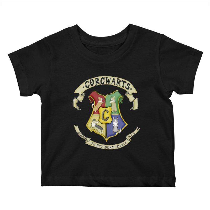 Corgwarts Crest Kids Baby T-Shirt by Corgi Tales Books