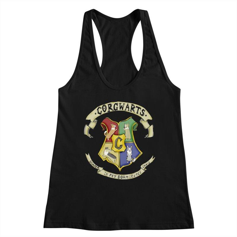 Corgwarts Crest Women's Racerback Tank by Corgi Tales Books
