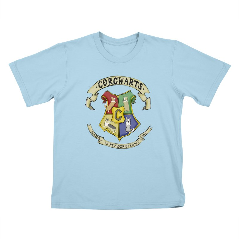 Corgwarts Crest Kids T-Shirt by Corgi Tales Books