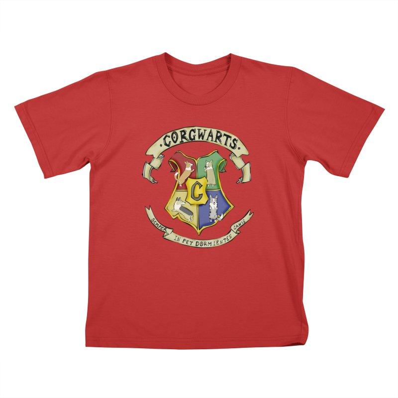 Corgwarts Crest Kids T-Shirt by Corgi Tales Books