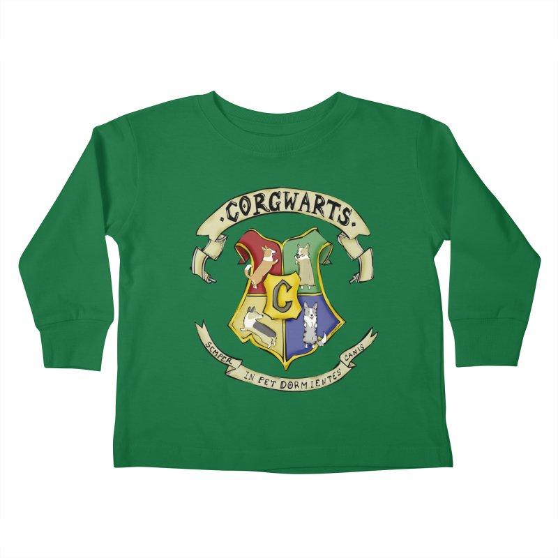 Corgwarts Crest Kids Toddler Longsleeve T-Shirt by Corgi Tales Books