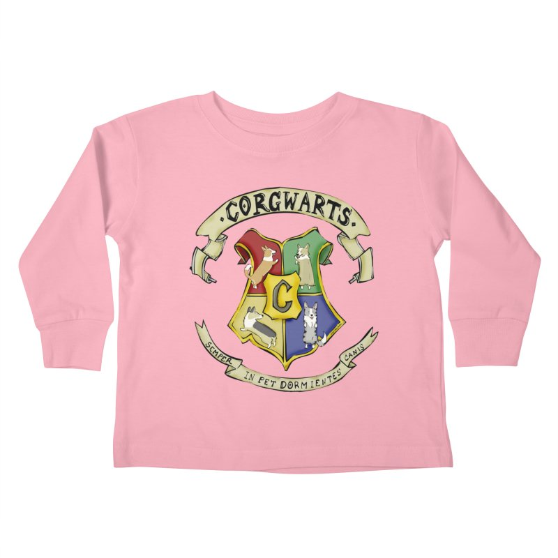 Corgwarts Crest Kids Toddler Longsleeve T-Shirt by Corgi Tales Books