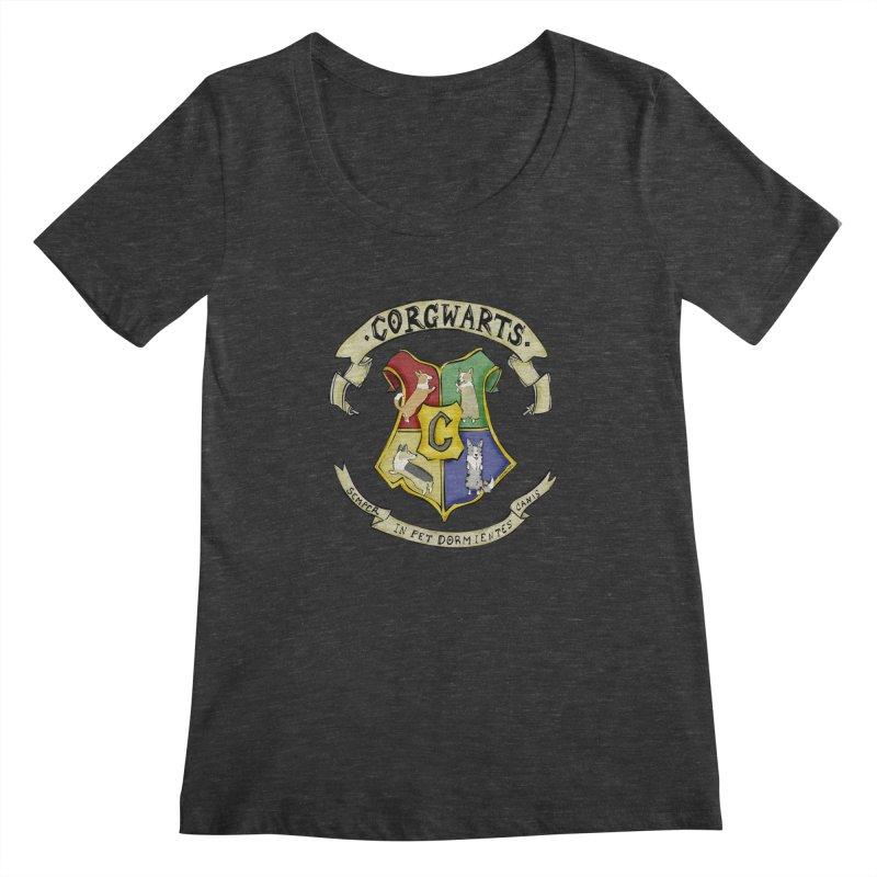 Corgwarts Crest Women's Regular Scoop Neck by Corgi Tales Books