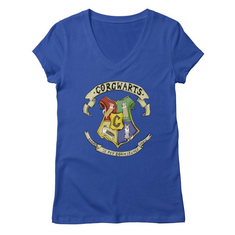 Corgwarts Crest Women's V-Neck by Corgi Tales Books