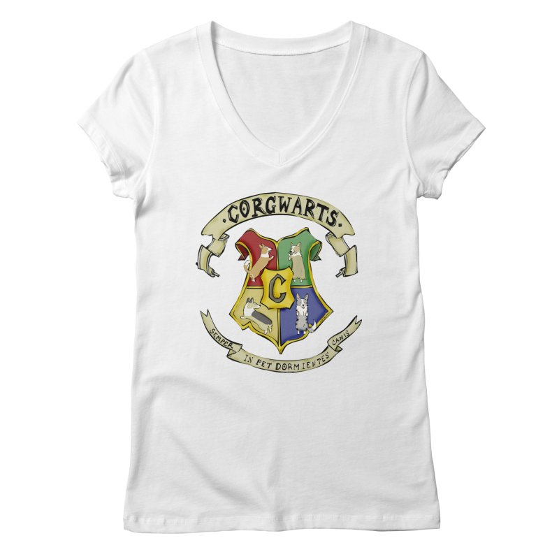 Corgwarts Crest Women's Regular V-Neck by Corgi Tales Books