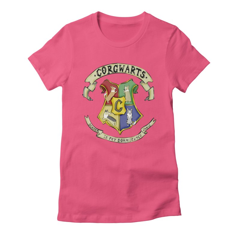Corgwarts Crest Women's Fitted T-Shirt by Corgi Tales Books
