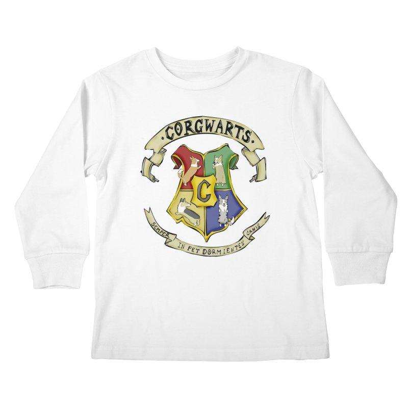 Corgwarts Crest Kids Longsleeve T-Shirt by Corgi Tales Books
