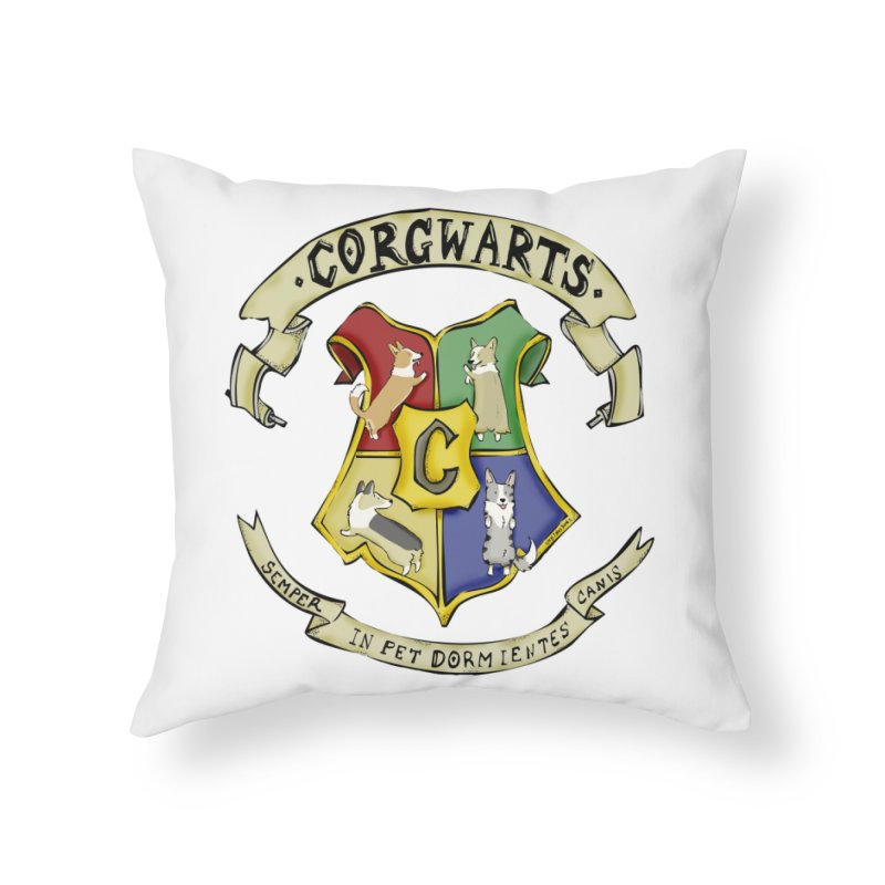 Corgwarts Crest Home Throw Pillow by Corgi Tales Books
