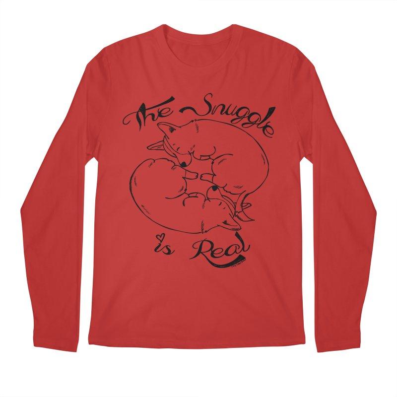 The Snuggle is Real Men's Regular Longsleeve T-Shirt by Corgi Tales Books