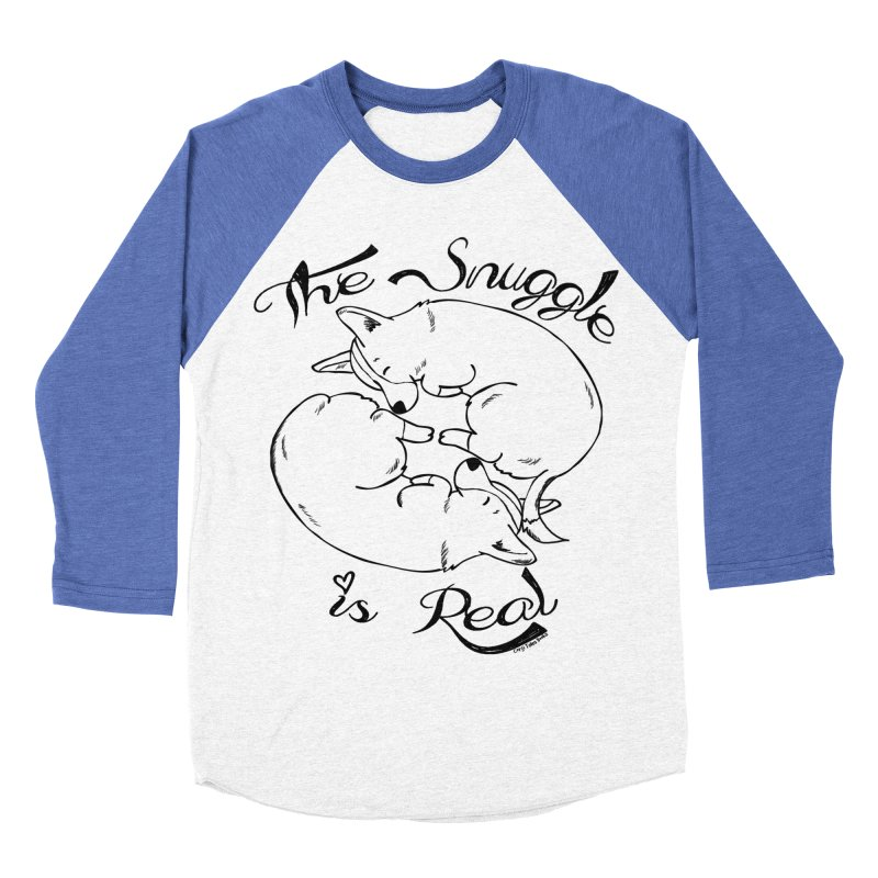 The Snuggle is Real Women's Baseball Triblend T-Shirt by Corgi Tales Books