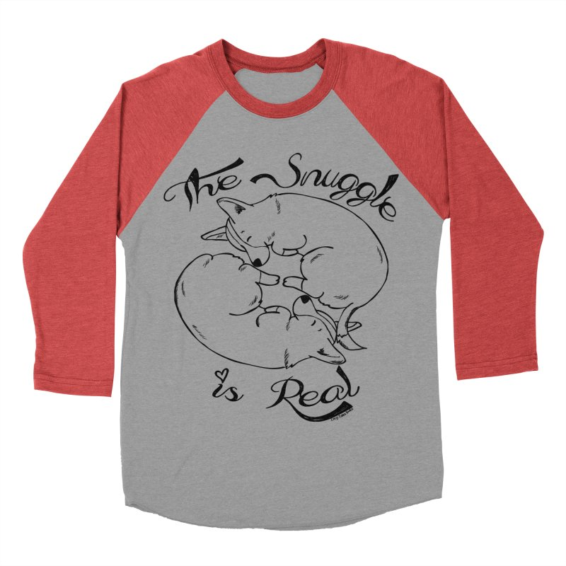 The Snuggle is Real Women's Baseball Triblend Longsleeve T-Shirt by Corgi Tales Books