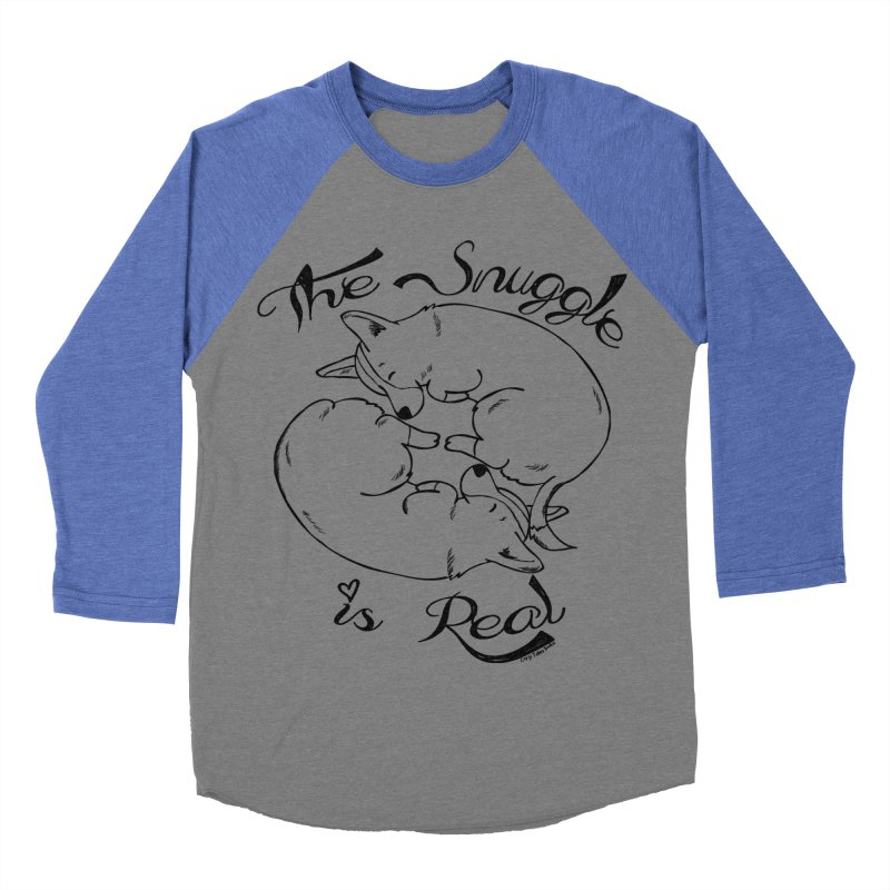 The Snuggle is Real Men's Baseball Triblend Longsleeve T-Shirt by Corgi Tales Books