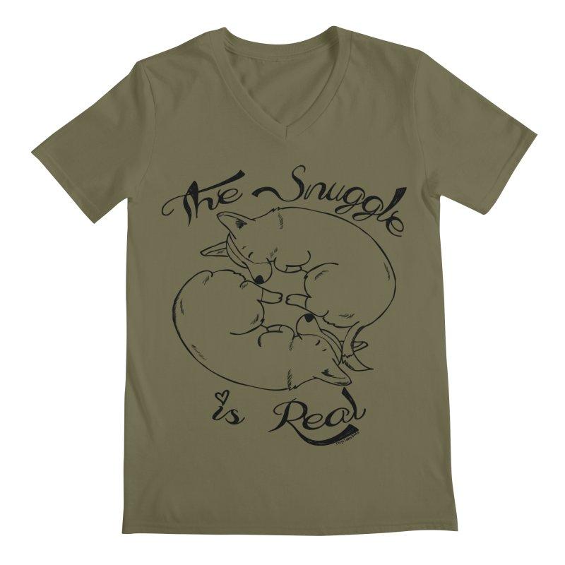 The Snuggle is Real Men's Regular V-Neck by Corgi Tales Books