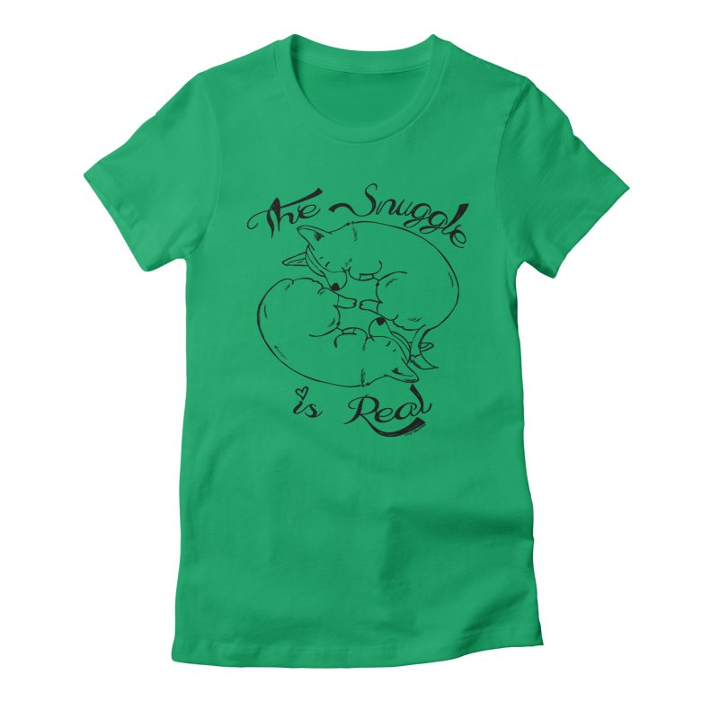 The Snuggle is Real Women's Fitted T-Shirt by Corgi Tales Books