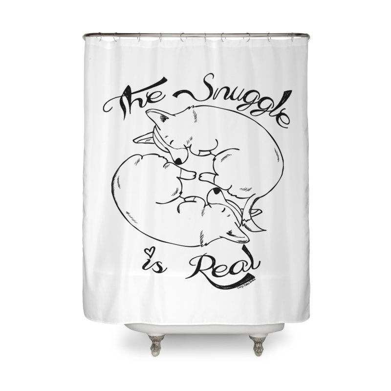 The Snuggle is Real Home Shower Curtain by Corgi Tales Books