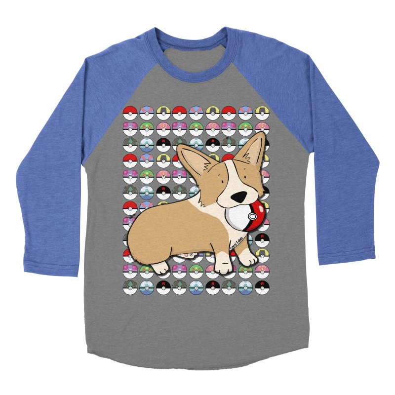 PokeCorg Men's Baseball Triblend Longsleeve T-Shirt by Corgi Tales Books