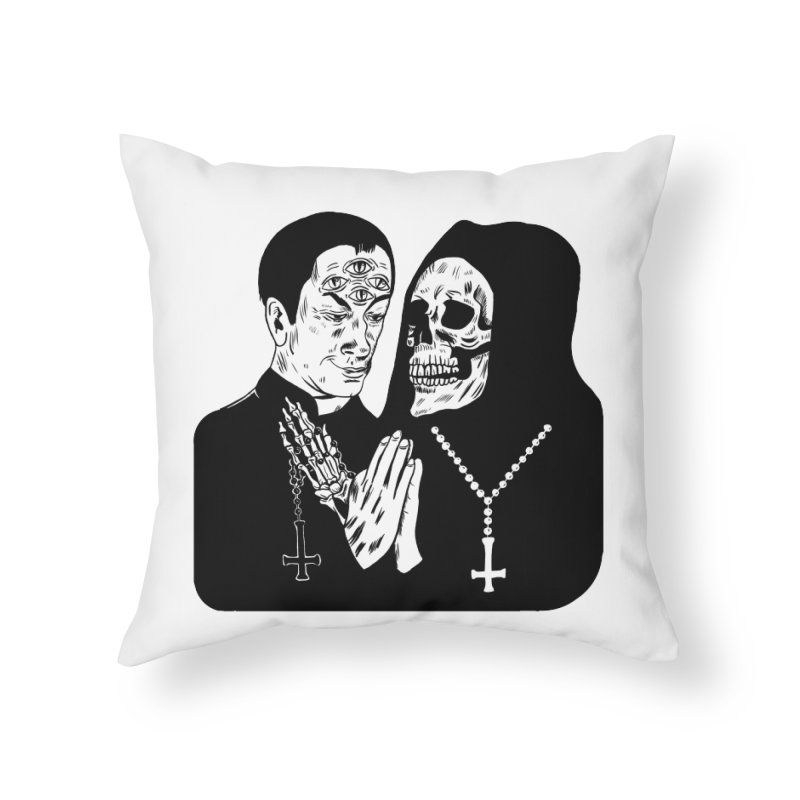 EVIL PRIEST Home Throw Pillow by Hate Baby Comix Artist Shop