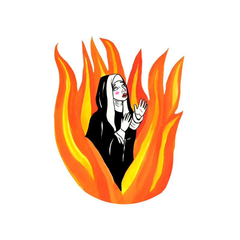 BURNING NUN Women's Zip-Up Hoody by Hate Baby Comix Artist Shop