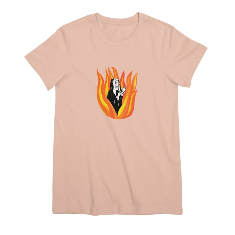 BURNING NUN Women's Premium T-Shirt by Hate Baby Comix Artist Shop