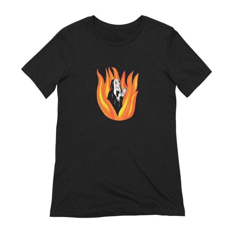 BURNING NUN Women's Extra Soft T-Shirt by Hate Baby Comix Artist Shop