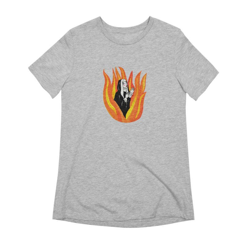 BURNING NUN Women's Extra Soft T-Shirt by Hate Baby Comix Artist Shop